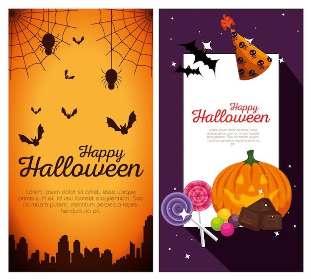 Gelukkige halloween-banners