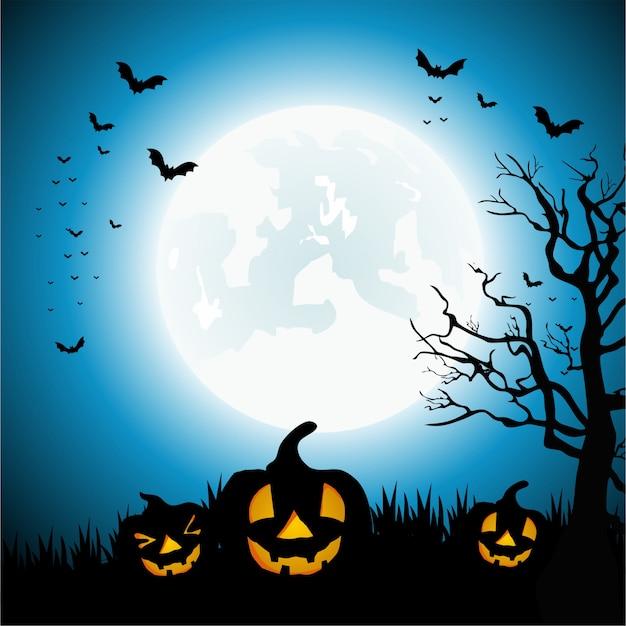 Gelukkige halloween-dag met een volle maan en pompoenachtergrond