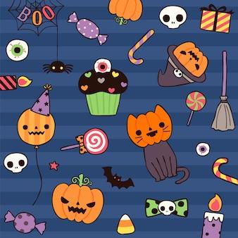 Gelukkige halloween-dag met leuk element in vlakke stijl