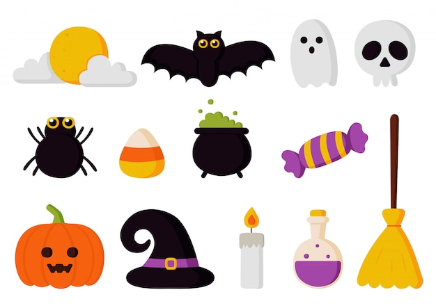 Gelukkige halloween-elementen geplaatst die op witte achtergrond worden geïsoleerd.