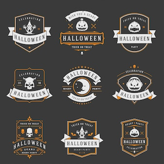 Gelukkige halloween-etiketten en kentekens of emblemenontwerp vastgestelde wijnoogst