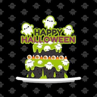 Gelukkige halloween-geesten versieren op de taart.