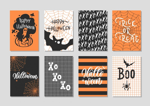 Gelukkige halloween-geplaatste groetkaart - hand van letters voorziende kaart.