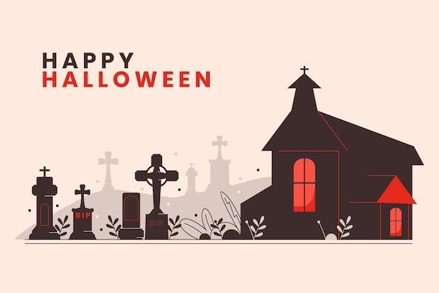 Gelukkige halloween-groet met handgetekende kerk en begraafplaats