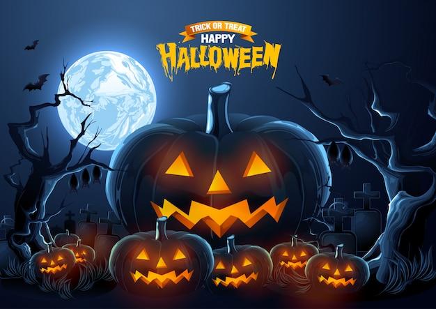 Gelukkige halloween-groet met pompoenen bij de nacht.