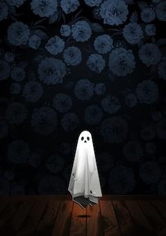 Gelukkige halloween-groet met spook die in de lucht op bloemachtergrond drijven