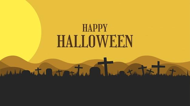 Gelukkige halloween-groetbanner met kerkhof en grafsteen in vlak ontwerp