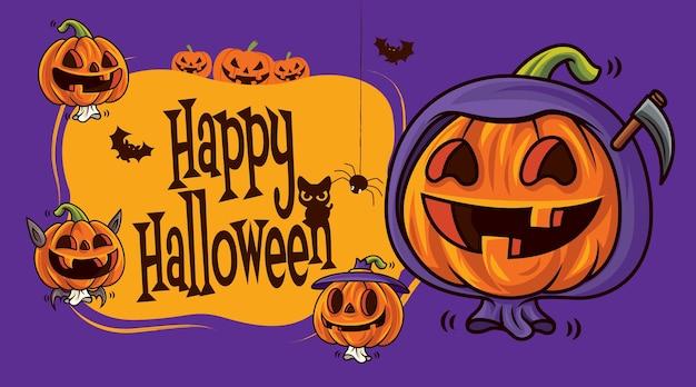 Gelukkige halloween-groeten met cartoon grappige gezichtspompoenen