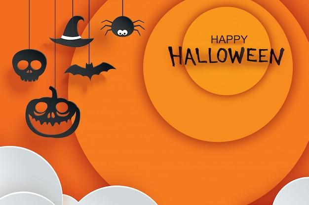 Gelukkige halloween-groetkaart met document het hangen op oranje achtergrond.