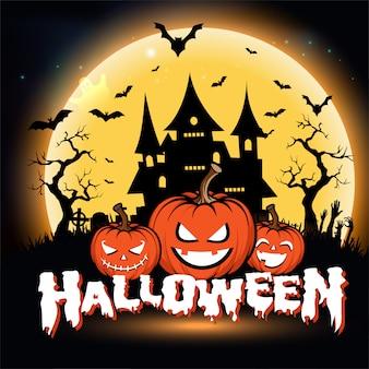 Gelukkige halloween-groetkaart met nacht met volle maan en enge pompoenen