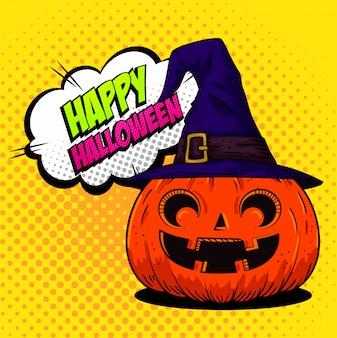 Gelukkige halloween-groetkaart met pompoen met heksenhoed in pop-artstijl