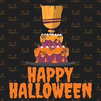 Gelukkige halloween-halloween-cake op achtergrond.