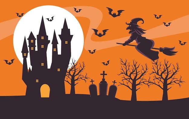 Gelukkige halloween-kaart met heks die in bezem en kasteel vliegt
