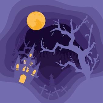 Gelukkige halloween-kaart met kasteel en boom in vector de illustratieontwerp van de begraafplaatsencène