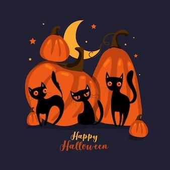Gelukkige halloween-kaart met pompoen en zwart kattenkarakter. vectoreps10