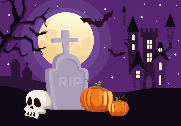 Gelukkige halloween-kaart met schedel en pompoen in begraafplaatsscène