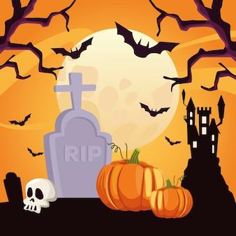 Gelukkige halloween-kaart met schedel en pompoen op begraafplaats