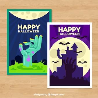 Gelukkige halloween kaarten met vlak ontwerp