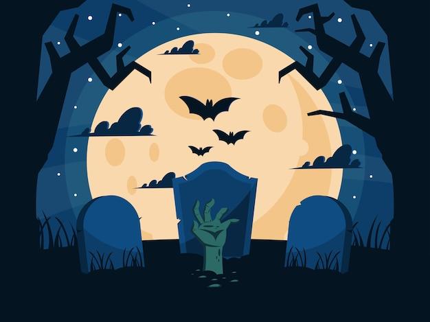 Gelukkige halloween-kerkhofachtergrond met zombiehand