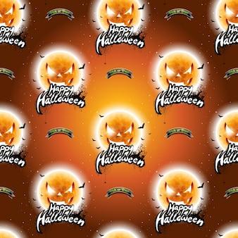 Gelukkige halloween naadloze patroon illustratie met maan enge gezichten op donkere oranje achtergrond.