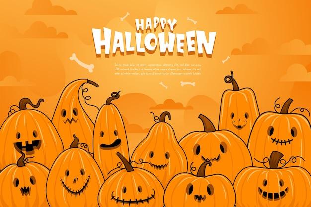 Gelukkige halloween of feestuitnodigingsachtergrond met nachtwolken en pompoenen.