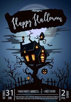 Gelukkige halloween-partijaffiche met griezelig kasteel