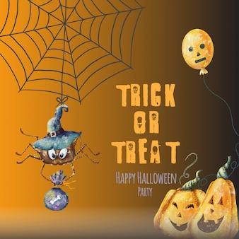 Gelukkige halloween-partijkaart met pompoenen en spin