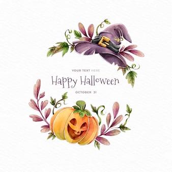 Gelukkige halloween-pompoen en heksenhoed