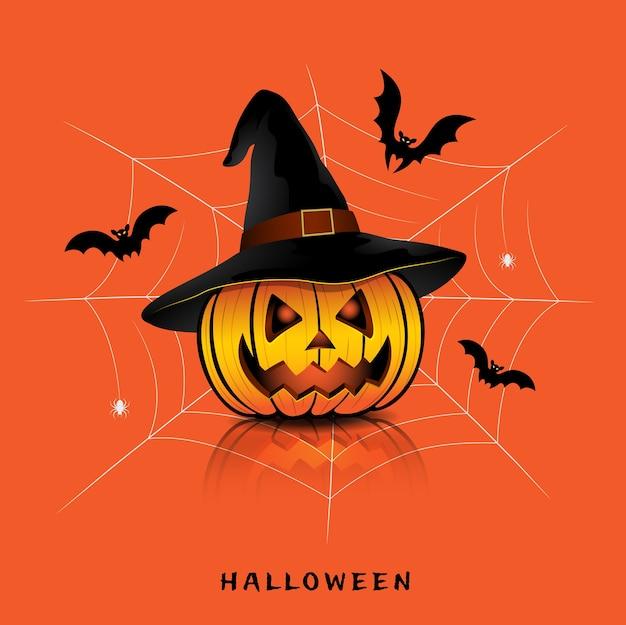 Gelukkige halloween-pompoenen met heksenhoed, knuppels en spinneweb