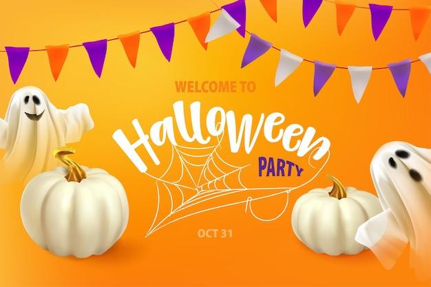 Gelukkige halloween-poster of kaart met spook en spinnewebspook op oranje achtergrond