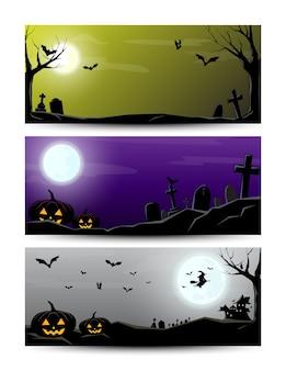 Gelukkige halloween-reeks van de nachtbanner, vectorillustrator