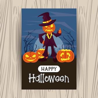 Gelukkige halloween-seizoenkaart met beeldverhalen