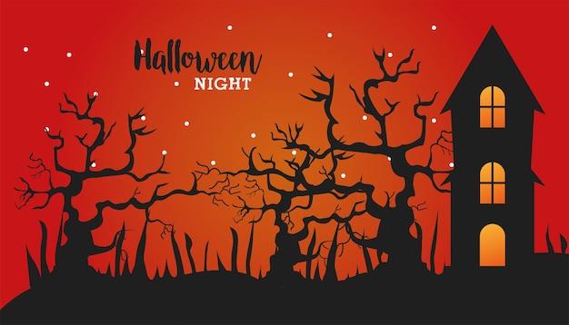 Gelukkige halloween-viering met achtervolgd huis en vector de illustratieontwerp van de bomenscène