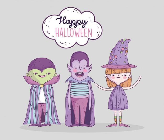 Gelukkige halloween-vieringsjonge geitjes met dracula en het monster van de kostuumheks