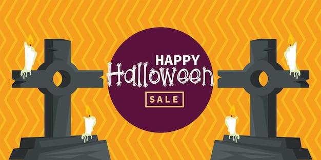 Gelukkige halloween-vieringskaart met begraafplaatsgraven en kaarsen