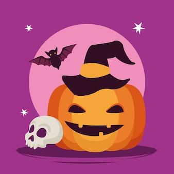 Gelukkige halloween-vieringskaart met pompoen en schedel vectorillustratieontwerp