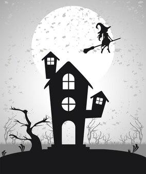 Gelukkige halloween-vieringskaart met spookhuis en het vliegen van de heks.