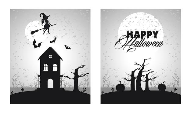 Gelukkige halloween-vieringskaart met vliegende heks en spookkasteelscènes.