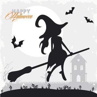 Gelukkige halloween-vieringskaart met vliegende heks en vleermuizen.