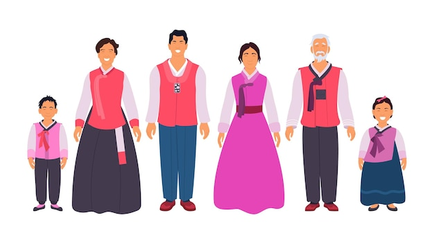 Gelukkige hanbok-familie die feestelijk koreaans etnisch kostuum draagt. glimlachende ouders, grootouders en kinderen in oosterse traditionele kleding vectorillustratie geïsoleerd op een witte achtergrond