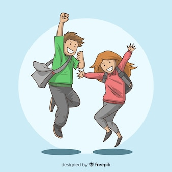 Gelukkige hand getrokken studenten springen