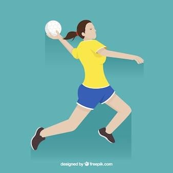 Gelukkige handbalspeler met vlak ontwerp