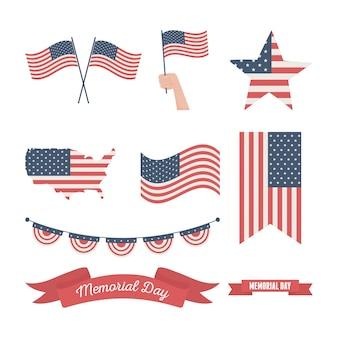 Gelukkige herdenkingsdag, de vlaggen van verenigde staten verschillende vormpictogrammen amerikaanse viering