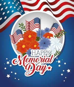 Gelukkige herdenkingsdag met mooie bloemen en vlaggen van de vs