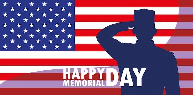 Gelukkige herdenkingsdagkaart met vlag de vs en silhouet van militair