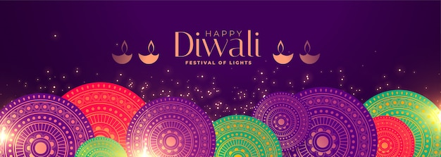 Gelukkige het festivalbanner van de diwali-gelegenheid met indische patroondecoratie