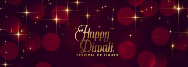 Gelukkige het festivalbanner van diwali glanzende fonkelingen