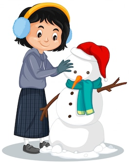 Gelukkige het maken sneeuwman op wit