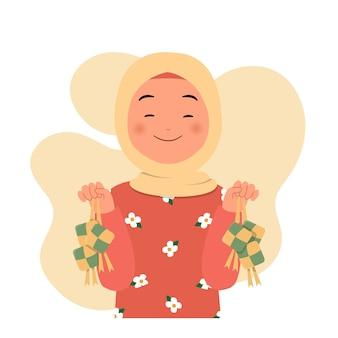 Gelukkige hijab-vrouw die ketupat op beide handen toont voor ramadan mubarak eid al fitr vakantie. vlak stijlontwerp