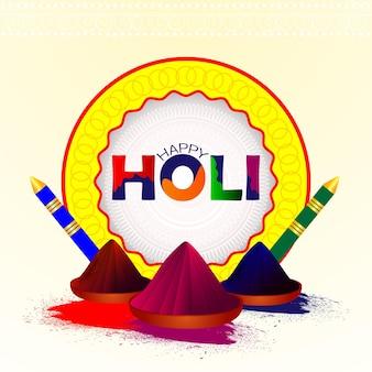 Gelukkige holi-achtergrond met kleurrijke modderpot